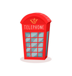 flat icon of red telephone booth famous vector image