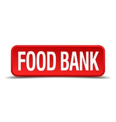 Food bank red 3d square button isolated on white vector
