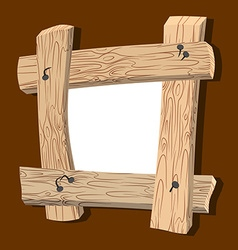 Frame is made of wood Wooden boards and old nails vector