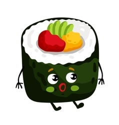 Funny sushi roll isolated cartoon character vector