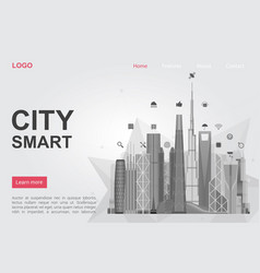 futuristic city skyscrapers landing page vector image