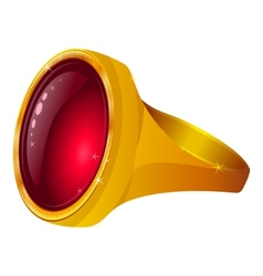 gold ring with red gem vector image