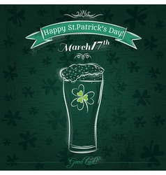 Green card for St Patricks Day with beer mug vector image