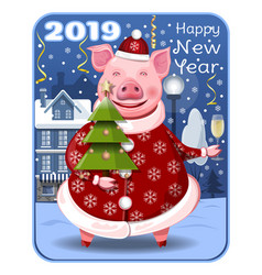 greeting card for the year of the pig vector image