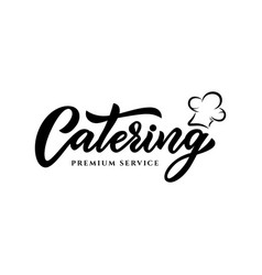 Hand sketched lettering catering company logo vector