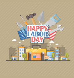 Happy labor day american flat vector