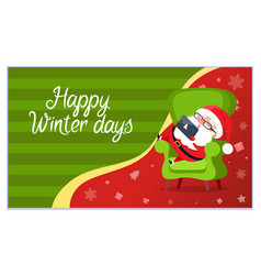happy winter days santa claus sleeping with gadget vector image