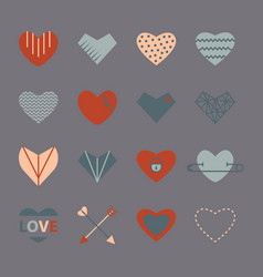 heart icon set in retro colors in flat style vector image