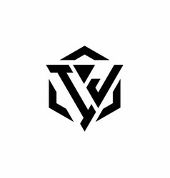 ij logo monogram with triangle and hexagon modern vector image