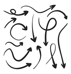Isolated hand drawn arrows set on a white vector