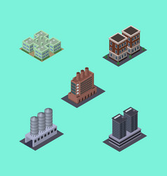 isometric architecture set of house industry vector image
