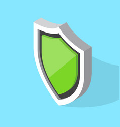 isometric green shield icon vector image
