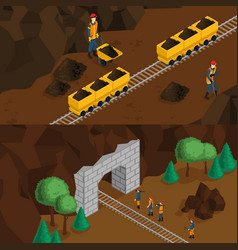 isometric miners horizontal banners vector image