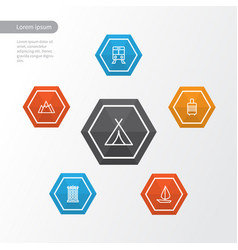 journey outline icons set collection of suitcase vector image