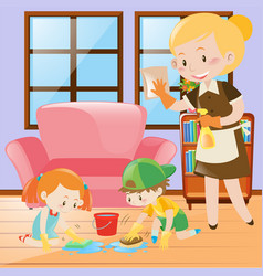 Kids and maid cleaning the house vector