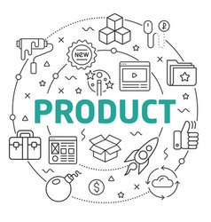 Line flat circle product vector