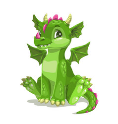 little cute cartoon green baby dragon vector image