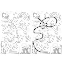 Lost city maze vector