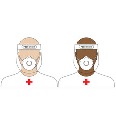 Medical workers wearing a virus protection uniform vector