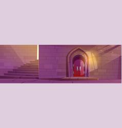 Medieval dungeon or castle building interior vector