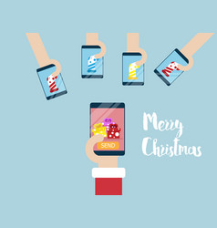 merry christmas on mobile smartphone vector image