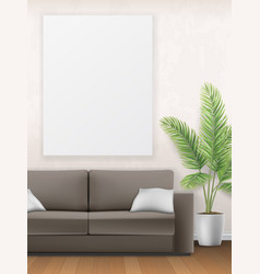 Mockup of interior with sofa palm tree and poster vector