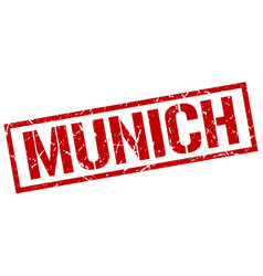 Munich red square stamp vector