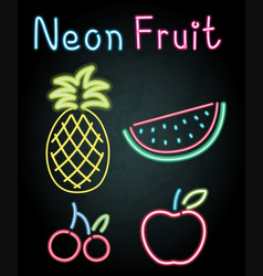 neon fruits on black background vector image