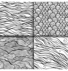 Neutral monochrome doodle seamless patterns set vector image