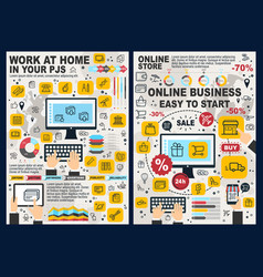 online business e-commerce and freelance vector image