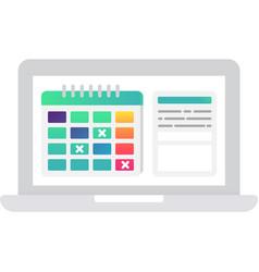 Online schedule calendar icon on white vector