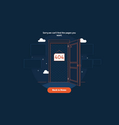 page not found error 404 door conceptthin line vector image