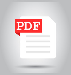 Pdf document note icon in flat style paper sheet vector