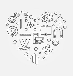 Physics heart creative symbol outline vector