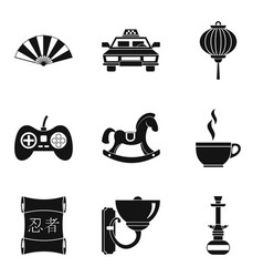 place icons set simple style vector image