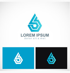 polygon shape technology logo vector image