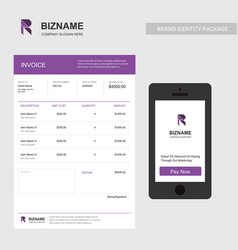 professional invoice design of company with vector image