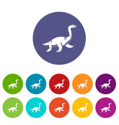 Pterosaurs dinosaur icons set flat vector