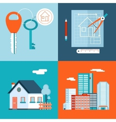 Retro Real Estate Symbols Private House vector image
