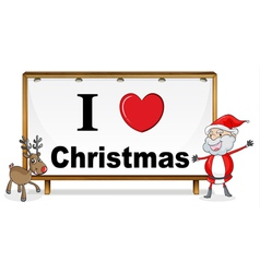 santa claus reindeer and a notice board vector image vector image