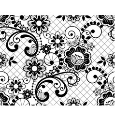 Seamless lace retro pattern in black vector