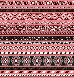 Seamless pattern borders tribal set vector