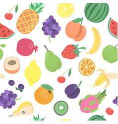 seamless tropical doodle fruits berries pattern vector image