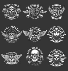 Set of biker club emblem templates vintage vector