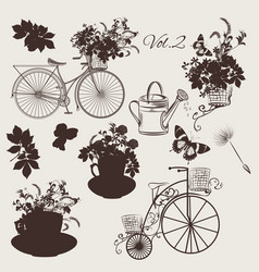 set of engraved bicycles and garden flowers vector image