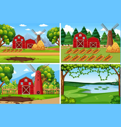 set of farmland landscape vector image