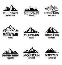 set of mountain icons isolated on light vector image