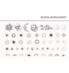 Set vintage design elements sun moon stars vector