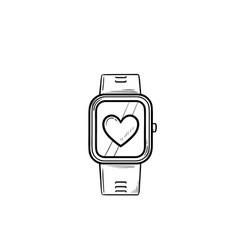 smartwatch with heart hand drawn outline doodle vector image