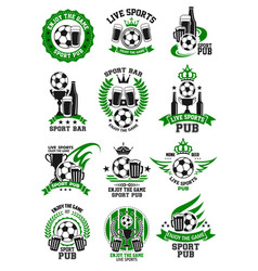 Soccer sport bar football pub icons set vector